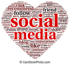 Social media love concept in word tag cloud of think bubble