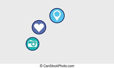 social media love email video camera animation hd
