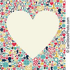Social media love heart texture