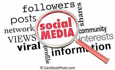 Social Media Magnifying Glass Network Followers 3d Illustration