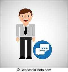 social media man bubble speech concept