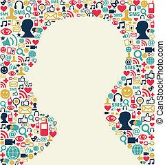 Social media man head icon texture