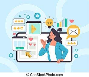 Social media marketing business advertising concept. Vector flat graphic design illustration
