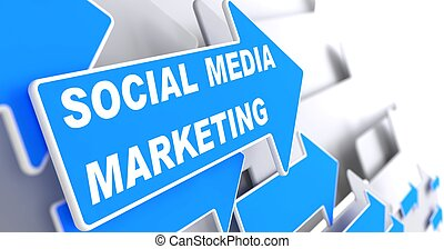 """Social Media Marketing. Business Concept. Blue Arrow with """"Social Media Marketing"""" slogan on a grey background. 3D Render."""