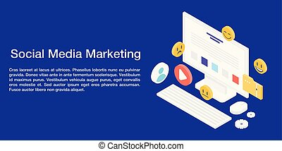 Social media marketing concept banner, isometric style