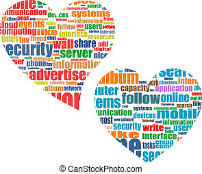 Social media marketing concept in word tag cloud in heart -...