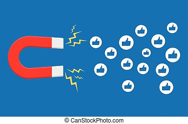 Social media marketing concept. Magnet attracting likes.
