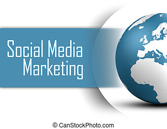 Social Media Marketing concept with globe on white...