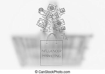 influencer bag full of gifts - social media marketing ...