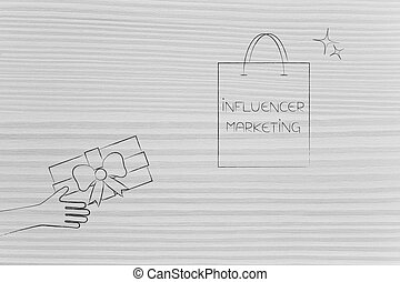 social media marketing conceptual illustration: influencer marketing shopping bag and hand giving gift