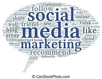 Social media marketing concept in word tag cloud of think bubble