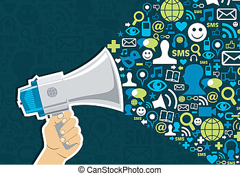 Social media Marketing - Hand holding a megaphone throwing...