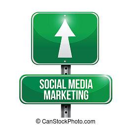 social media marketing road sign illustration