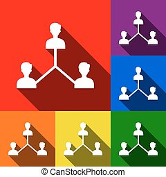 Social media marketing sign. Vector. Set of icons with flat shadows at red, orange, yellow, green, blue and violet background.
