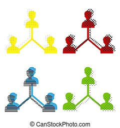 Social media marketing sign. Vector. Yellow, red, blue, green ic