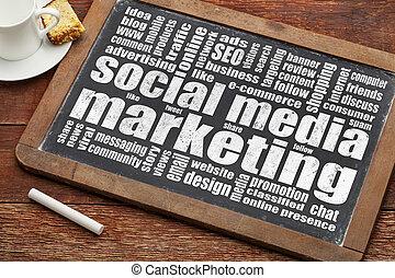 social media marketing word cloud on a vintage blackboard...