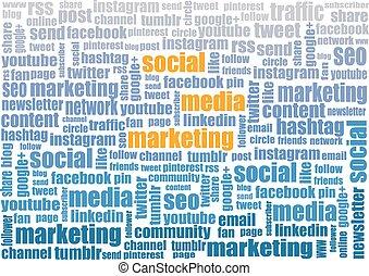 social media marketing tagcloud illustration