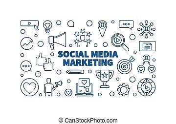 Social Media Marketing vector blue line horizontal illustration