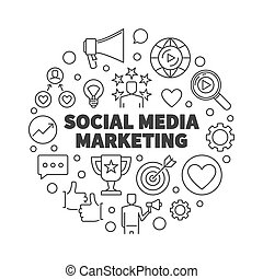 Social Media Marketing vector round outline illustration
