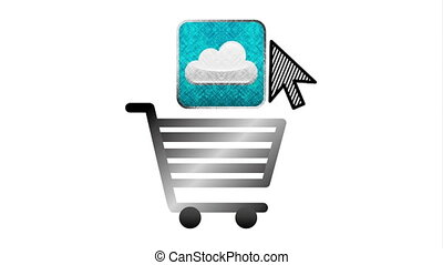 social media marketing with shopping cart ,hd video animation