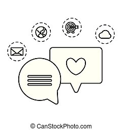 social media marketing with speech bubbles