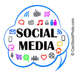 Social media meaning in a cloud shape icon image