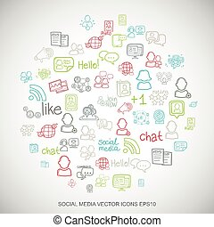 Social media Multicolor doodles Hand Drawn Social Network Icons set on White. EPS10 vector illustration.