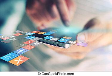 social, media, nätverk, concept.