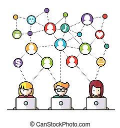 social, media, nätverk, folk