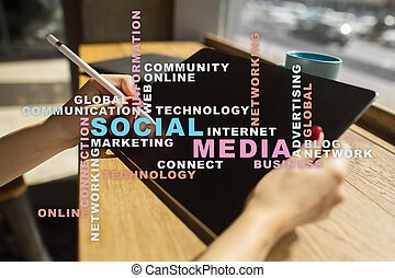 Social media network and marketing. Business, technology concept. Words cloud on virtual screen.