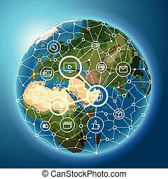 Social media network concept. Abstract communication scheme on the Earth. Vector illustration