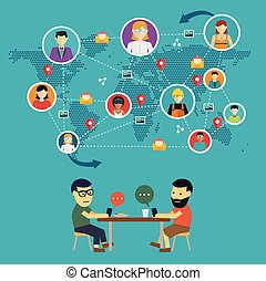 Social media network concept with people with their hone and globe on background vector illustration