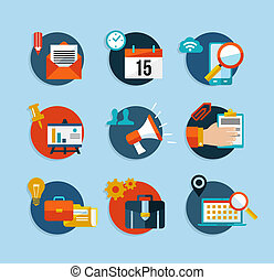 Social media network flat icons set
