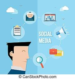 Social media network flat illustration