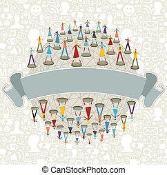 Social media network globe with ribbon