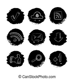 Social media network hand drawn icons set