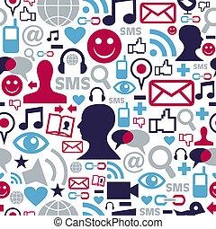 Social media network icons pattern