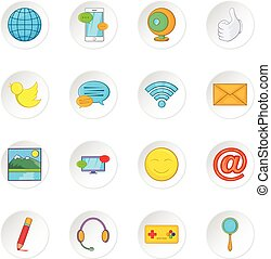 Social media network icons set, cartoon style