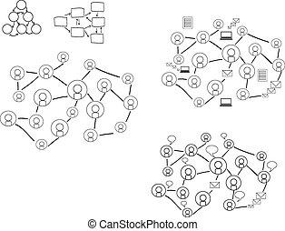 Social Media Network Illustration set, Vector