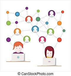 Social Media, network illustration