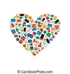 Social media network love icon heart shape concept
