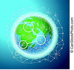 Social media network vector concept. Abstract communication scheme on the Earth