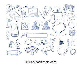 Social media network vector doodles, internet computer hand draw icons