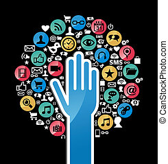 Social media networks hand concept tree