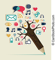 Social network education concept pencil tree with multimedia icons leaves. Vector illustration layered for easy manipulation and custom coloring.