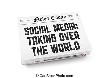 Social media newspaper concept - A stack of newspapers with...