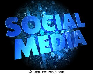 Social Media on Dark Digital Background.