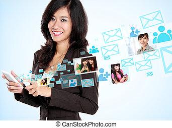 social media on hightech concept