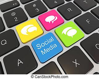 Social media on laptop keyboard.