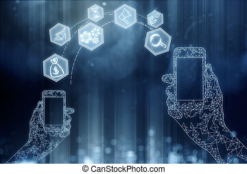 Social media, online banking, future concept